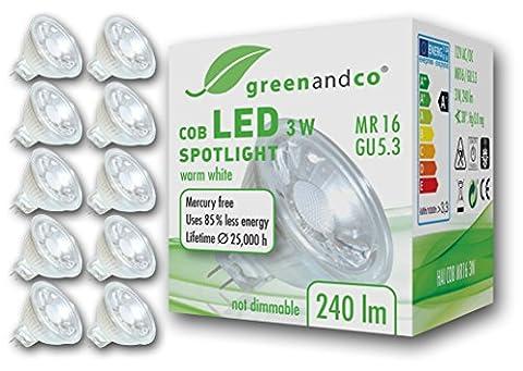 10x greenandco® LED Spot ersetzt 25-30 Watt MR16 GU5.3 Halogenstrahler, 3W 240 Lumen 2700K warmweiß COB LED Strahler 38° 12V AC/DC Glas mit Schutzglas, nicht dimmbar, 2 Jahre