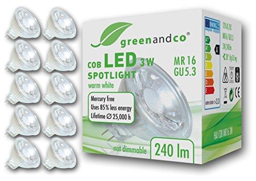 Pack de 10 unidades de spots LED casquillo GU5.3 marca greenandco