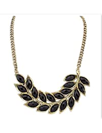 Bold N Elegant Pendant Necklace Gold Plated Chain With Black Crystal Leaf Cutout Statement Neckpiece Choker Charm...