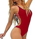 QingJiu Damen Einteiliger Badeanzug Bandage Bikini Push-Up Gepolsterte RüCkenfrei Bademode