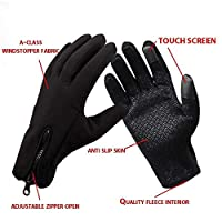 Sports Touchscreen Gloves, Waterproof, Multi-purpse Smart Phone, Mens and Womens, Cycling and Winter Outdoor Sports Gloves Adjustable Medium Black
