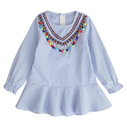 (feiXIANG Herbst Rock Kleinkind Bekleidung Mädchen Abendmode Quasten gestreift Kleid Robe Prinzessin Kleid ethnischen Wind Dancewear Streifen kleider langärmeligen Kleid (140, Blau))
