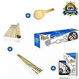 Kit à sushis et makis Merci Myself -Sushi kit -Sushi maker , Natte en bambou naturel +2 paires de baguettes +Cuillère en Bambou+ CADEAU:EBOOK de 100 pages et 23 recettes , Kit DIY japon et cuisine facile