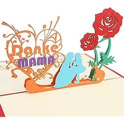 Schöne 3D Pop Up Grußkarte für Mama, Mamas Geburtstag und als Muttertags Geschenkkarte. Ich liebe Mama Karte mit Umschlag.