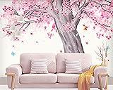 Yosot Benutzerdefiniertes Hintergrundbild Einfach Handgemalten Aquarell Kirschbaum Landschaft Tv Hintergrund Wand Dekoration Wandbilder 3D Tapete-350Cmx245Cm