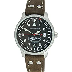 Messerschmitt Aviator Watch Special Model Speed Record ME-209LB Ronda Swiss Movement 5ATM with brown leather strap