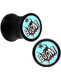 Negro Acrílico Boom Goes La Bomba Dilatador Par 7mm