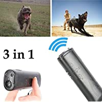 Mini 3 en 1 Barking Anti Stop Bark Ultrasonic Dog Repeller Training Device Entrenador con LED (black)