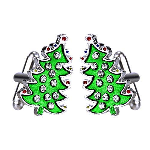 Surplex 1 Paar Herren Manschettenknöpfe Weihnachtsbaum Form Manschettenknopf Grün Weihnachts Deko Manschettenknöpfe Festliches Hemd Manschetten Knöpfe - Grün Hemd Französisch Manschette