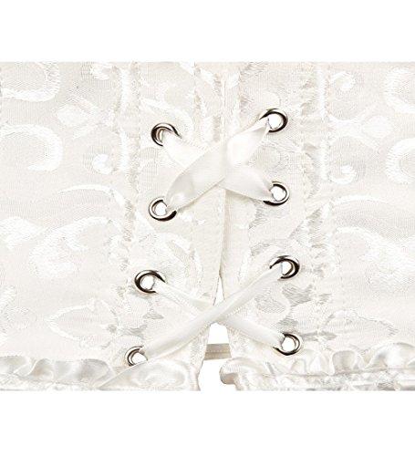 FStory Retro Korsett Corsagen Vollbrust Palast Corsage Taillen Top Hochzeit Bustiers Corset Cincher Shaper Damen, Farbe Weiß, Size EU 44(2XL) - 4