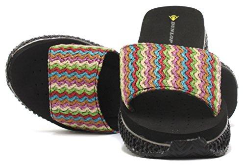 Dunlop Raffia Femme Sandales avec Wedge Black