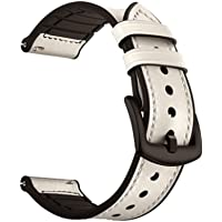 Oboe 20mm Smart Watch Leather Plus Silicone Band Strap Compatible for Amazfit GTR 42mm / GTS/Bip/Bip Lite/Samsung Gear Sport/Samsung Gear S2 Classic/Huawei Watch 2 (White)