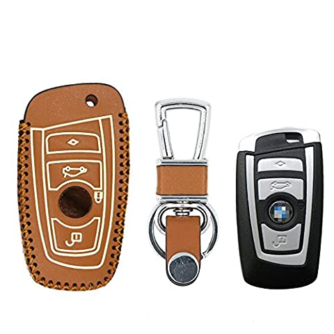 Happyit Leather Car Key Case Cover for BMW 3 5 7 Series GT 730 740 Smart - Handmade Cross Hand with Fluorescent Effect