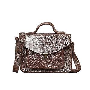 MADEMOISELLE GEORGE Ámbar Plateado pequeña mochila de cuero de estilo vintage PAUL MARIUS