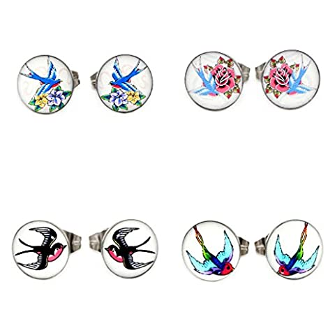 Value Pack 4 Pairs Colorful Old School Sparrow Swallow Images Logo Girls Women Butterfly Fastening Earrings Studs 0.8mm 20 Gauge