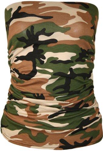 WearAll - Animal aztèque imprimé bustier bandeau top ruché sans bretelles - Hauts - Femmes - Tailles 36 à 42 Army