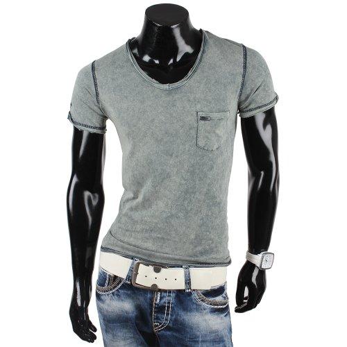 Tazzio Herren T-Shirt Poloshirt Polohemd Slim Fit Japan Style Kurzarm Khaki