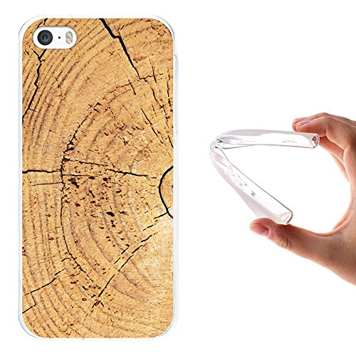 iPhone SE iPhone 5 5S Hülle, WoowCase Handyhülle Silikon für [ iPhone SE iPhone 5 5S ] Holzwand Handytasche Handy Cover Case Schutzhülle Flexible TPU - Transparent Housse Gel iPhone SE iPhone 5 5S Transparent D0267