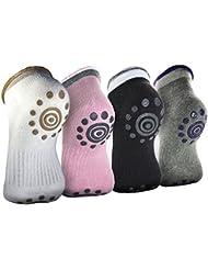 Sijueam 4 paires Chaussettes Antidérapantes de Yoga / Pilates / Arts Martiaux / danse Sport Sock en Coton pour Femme Confortable ahérence sur le tapis