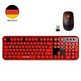 Wireless Tastatur Maus Set 2.4GHz Ultra Dünne Kabellos Tastatur (QWERTZ, Deutsches Layout) und Maus für Laptop PC Tablet und Smart TV