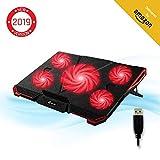 KLIM CYCLONE - Refroidisseur PC Portable - Refroidissement Maximal - 5 Ventilateurs - Support Ventilé pour Ordinateur - Gamer Gaming - Version 2019 - Rouge