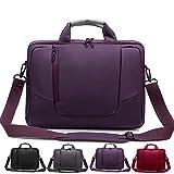 Laptop Umhängetasche aus weichem Nylon mit Schaumstoff gepolsterte Aktentasche, abnehmbarer Schultergurt - für 15,6-Zoll-Notebooks, Lila - von Rawboe