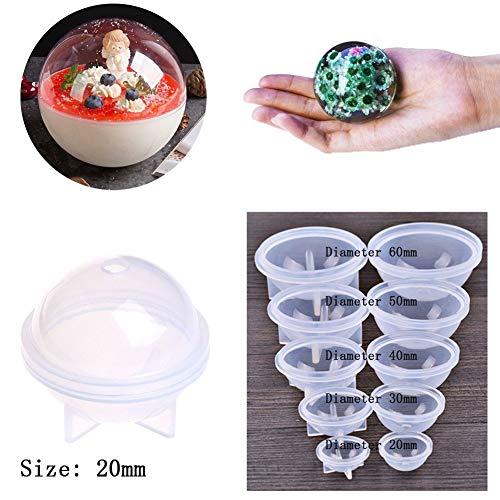 Hacloser stereo sferica stampo in silicone per creare gioielli fai da te palle in resina decorazione Crafts Tools 20mm Infradito colorati estivi, con finte perline