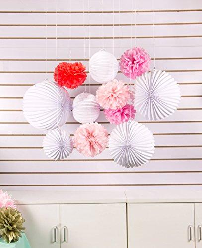 SUNBEAUTY 11er Set Rosa Pink Weiß PomPoms Lampions Zeremonie Dekoration (Rosa & Pink & Weiß) - 4
