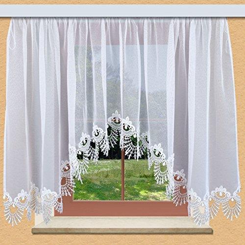 Stores von kollektion.MT Edler Blumenfenster-Store Nastja weiß mit aufwändig eingearbeiteter 15cm breiter gebogter Fächerspitze aus Echter Plauener Spitze mit Reihband Fertiggardine