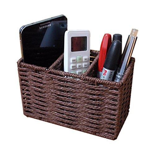 WYFC Petite boîte de stockage de paille boîte de rangement de bureau boîte de bureau stylo papeterie porte téléphone paniers de rangement de la télécommande tissé . a