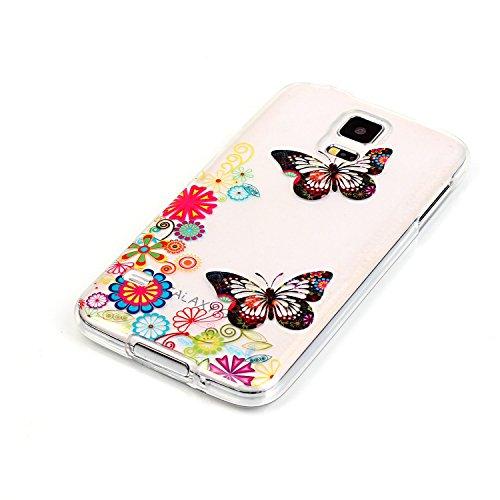 Qiaogle Telefon Case - Weiche TPU Case Silikon Schutzhülle Cover für Apple iPhone 5 / 5G / 5S / 5SE (4.0 Zoll) - XS09 / Rote Liebe Weiße Chrysantheme XS11 / Schöner Schmetterling