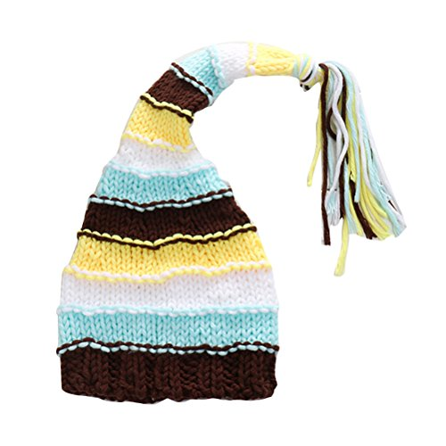 Zhhlaixing 0-3 Months Baby Knit Crochet Stripe Beanie Hat Photo Prop XDT-356