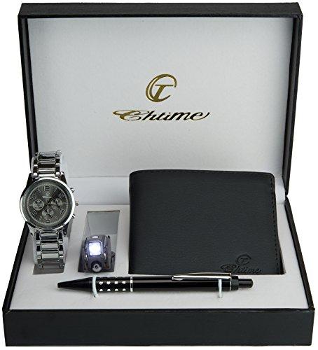 Caja de Regalo Reloj Hombre Gris - Cuchillo suizo Lámpara - Billetera -Bolígrafo