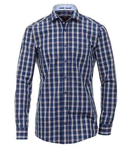 Casa Moda - Comfort Fit - Herren Freizeit Hemd mit Kent Kragen und Karo Muster (462419900 A) Blau (100)