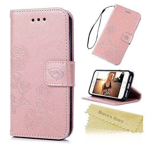 iPhone SE Hülle Mavis's Diary iPhone 5 5s Tasche Drucken Rose Flip Cover PU Ledertasche Magnetverschluss Schutzhülle Case Telefon-Kasten Handyhülle Standfunktion Euit Fall Rosa