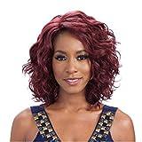Damen Mode Perücke Kopf Mittellanges Haar Lockiges Haar Wine Red Persönlichkeit Frisur