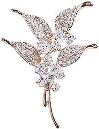 EOZY Broche Fleurs Strass En Alliage Vintage Bijou Soirée Pin Femmes
