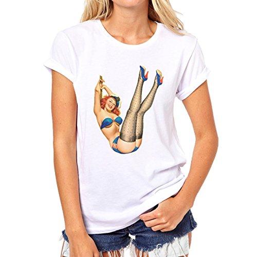 Pin Up Pinup Girls Sexy Legs Damen T-Shirt Weiß