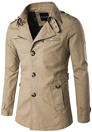 Whatlees Herren Design Lang geschnittenes winter Mäntel Trägershirt weicher Trenchcoat mit Knopfleiste funktion taschen B274-Khaki-M
