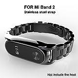 Mi band 2 Cinturino In Acciaio Inossidabile Braccialetto di Ricambio per Xiaomi Mi Band 2 Smart Miband 2 Braccialetto (Metallo nero,Activity Tracker non incluso)