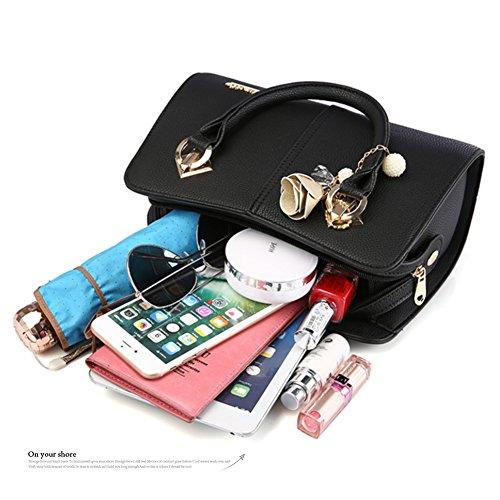 Yoome Hardware Ciondolo Lichee Top Pattern Handle Satchel Per Donna Borsa Elegante Borse Donna - L.Purple Rosa