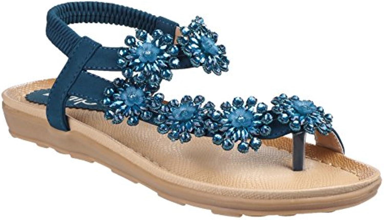 Divaz Damen Selena Slip On Juwelen Sandale