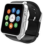Bluetooth Smart Watch,MindKoo GT88 Waterproof Smart Watch Bluetooth Smart Phone Watch with Heart Rate Monitor,Touch Screen and Fitness Tracker for iPhone and Android Smartphones (Silver)