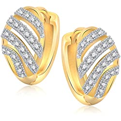 V. K. Jewels Well Crafted Gold Brass Alloy Cz American Diamond Earring For Women Vkbali1042G