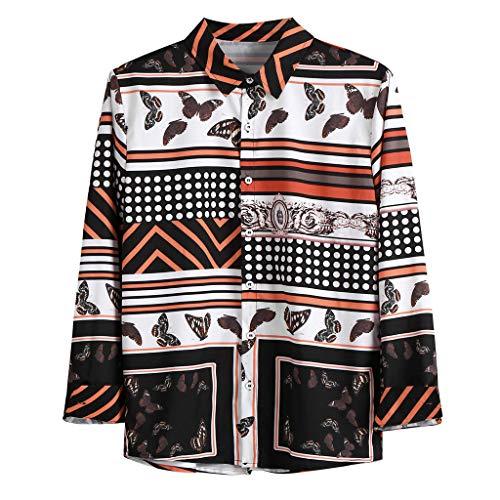 Camicia Elegante Slim Fit a Maniche Lunghe Casual Button Down a Pois Stampa a Righe Camicia Moda Vintage Uomo (L,Marrone)