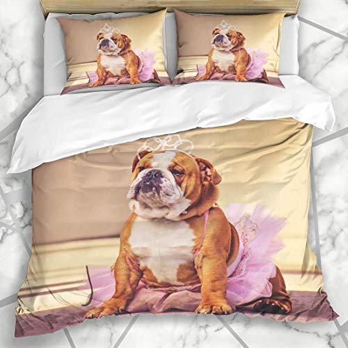 Soefipok Bettbezug-Sets Gesicht lustige süße Bulldogge gekleidet rosa Tutu Prinzessin Hund Parks Kostüm Haustier Retro Baby Tiara Mikrofaser Bettwäsche mit 2 Kissen Shams