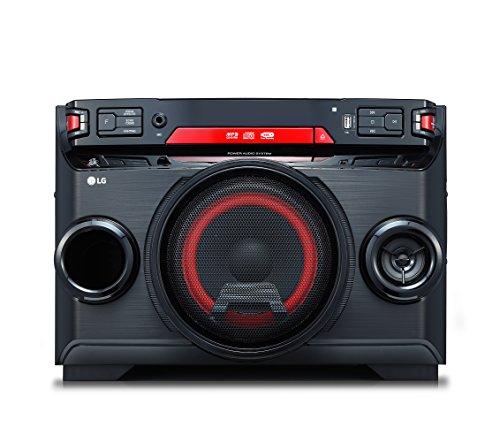 LG OK45 High Power HiFi System mit CD, Radio und USB Eingang Chrom/Schwarz/Rot (Radio Lg)