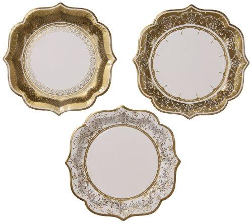 Porcelain; Goldglanz-Pappteller für Weihnachten, Hochzeiten und Dinnerpartys, Gold, 20 cm (12 pro Pack in 3 Designs) (Weihnachts-pappteller)