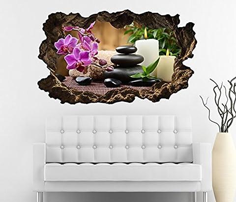 3D Wandtattoo Wellness Kerze Steine Orchidee Blume Yoga Bild Foto Wandbild Wandsticker Wohnzimmer Wand Aufkleber 11F190, Wandbild Größe F:ca.