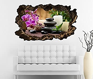 3D Wandtattoo Wellness Kerze Steine Orchidee Blume Yoga Bild Foto Wandbild Wandsticker Wohnzimmer Wand Aufkleber 11F190 Grosse Fca
